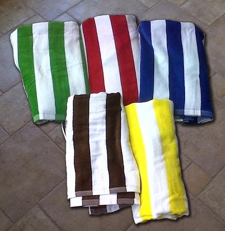 Velour Tropical Stripe Beach Towel