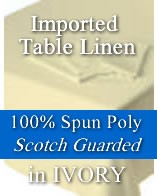 "Imported 100% Spun Poly Ivory Table Linen - 90"" Round"