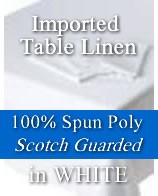 "Imported 100% Spun Poly White Table Linen - 90"" Round"