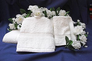 "Thomaston Royal Suite Towels- 100% Cotton - Dobby Border - 13"" X 13"""
