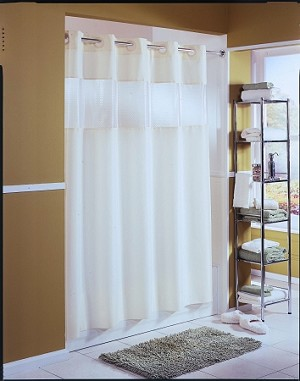 The Hookless® Shower Curtain,  The Major  Fabric Curtain w/ Vinyl Window